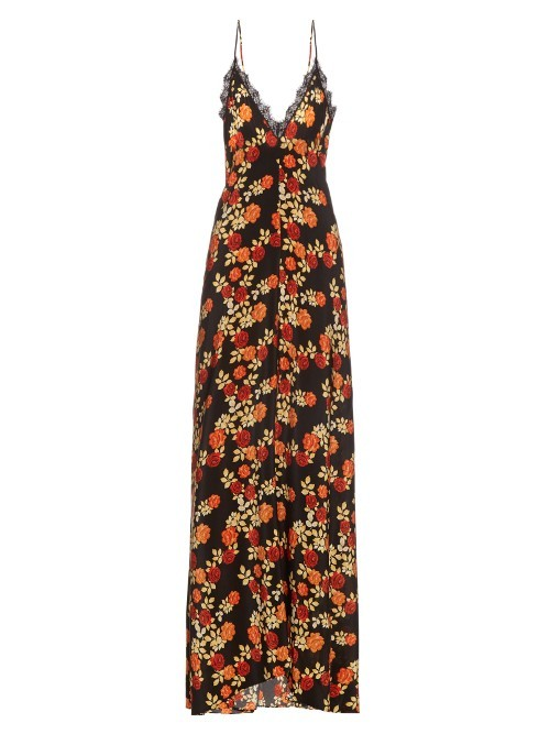 Seven Wonders Silk Maxi Dress - neckline: low v-neck; sleeve style: spaghetti straps; style: maxi dress; secondary colour: bright orange; predominant colour: black; occasions: evening; length: floor length; fit: body skimming; fibres: silk - 100%; sleeve length: sleeveless; pattern type: fabric; pattern size: big & busy; pattern: florals; texture group: other - light to midweight; multicoloured: multicoloured; season: s/s 2016