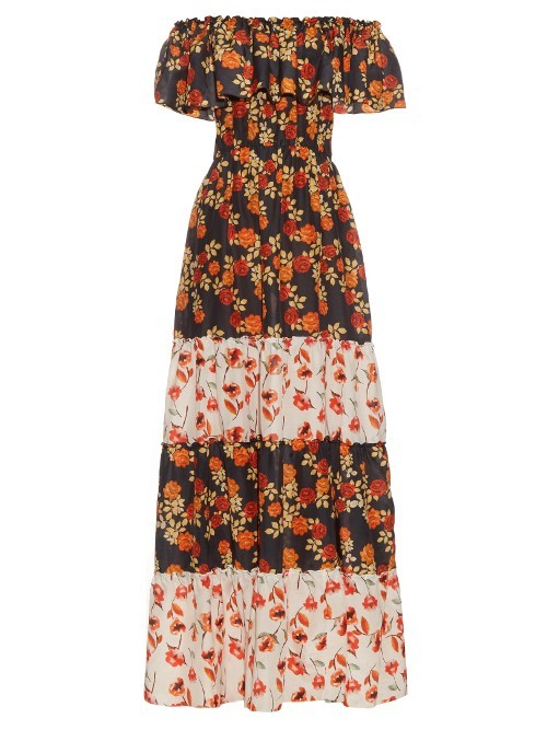 Seven Wonders Off The Shoulder Dress - neckline: off the shoulder; style: maxi dress; length: ankle length; secondary colour: bright orange; predominant colour: black; occasions: casual; fit: body skimming; fibres: cotton - mix; sleeve length: short sleeve; sleeve style: standard; pattern type: fabric; pattern: florals; texture group: other - light to midweight; multicoloured: multicoloured; season: s/s 2016; wardrobe: highlight
