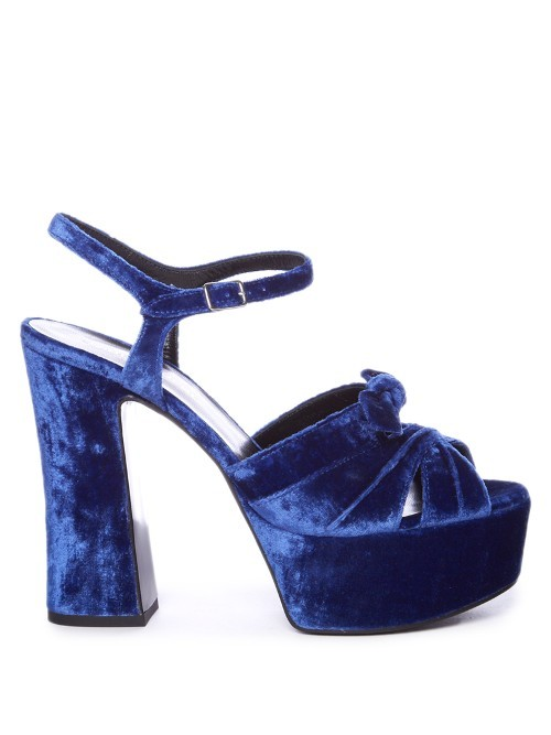 Candy Bow Detail Velvet Platform Sandals - predominant colour: royal blue; occasions: evening, occasion; material: velvet; ankle detail: ankle strap; heel: block; toe: open toe/peeptoe; style: strappy; finish: plain; pattern: plain; heel height: very high; shoe detail: platform; season: s/s 2016; wardrobe: event