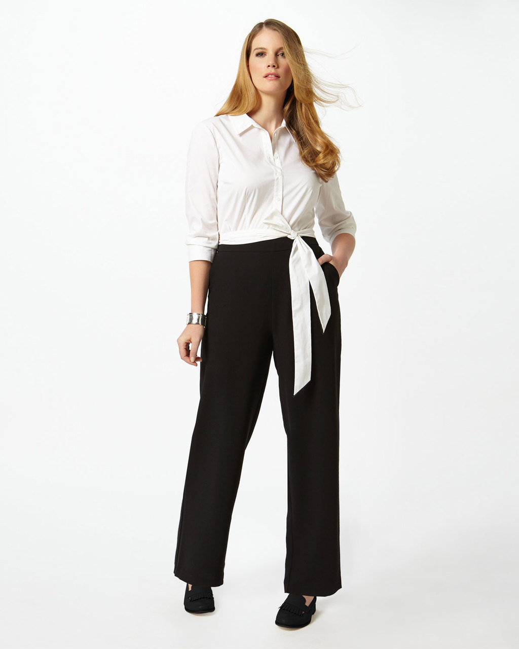 Piper Trouser - length: standard; pattern: plain; waist: high rise; predominant colour: black; occasions: work; fibres: polyester/polyamide - 100%; texture group: crepes; fit: wide leg; pattern type: fabric; style: standard; season: s/s 2016; wardrobe: basic
