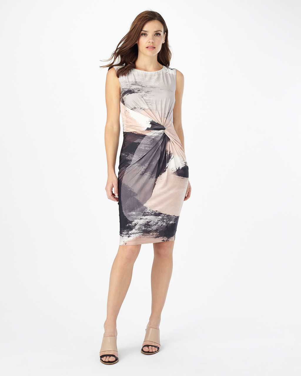 Fabienne Print Dress - fit: tight; sleeve style: sleeveless; style: bodycon; waist detail: twist front waist detail/nipped in at waist on one side/soft pleats/draping/ruching/gathering waist detail; secondary colour: blush; predominant colour: light grey; occasions: evening; length: on the knee; fibres: viscose/rayon - stretch; neckline: crew; sleeve length: sleeveless; pattern type: fabric; pattern: patterned/print; texture group: jersey - stretchy/drapey; multicoloured: multicoloured; season: s/s 2016; wardrobe: event