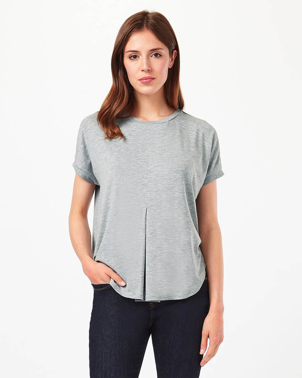 Circle Hem Top - pattern: plain; style: t-shirt; predominant colour: light grey; occasions: casual; length: standard; fibres: polyester/polyamide - stretch; fit: body skimming; neckline: crew; sleeve length: short sleeve; sleeve style: standard; pattern type: fabric; texture group: jersey - stretchy/drapey; season: s/s 2016; wardrobe: basic
