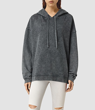 Tor Hoody - neckline: v-neck; pattern: plain; length: below the bottom; style: standard; predominant colour: charcoal; occasions: casual; fibres: cotton - 100%; fit: loose; sleeve length: long sleeve; sleeve style: standard; pattern type: fabric; texture group: jersey - stretchy/drapey; season: s/s 2016; wardrobe: highlight