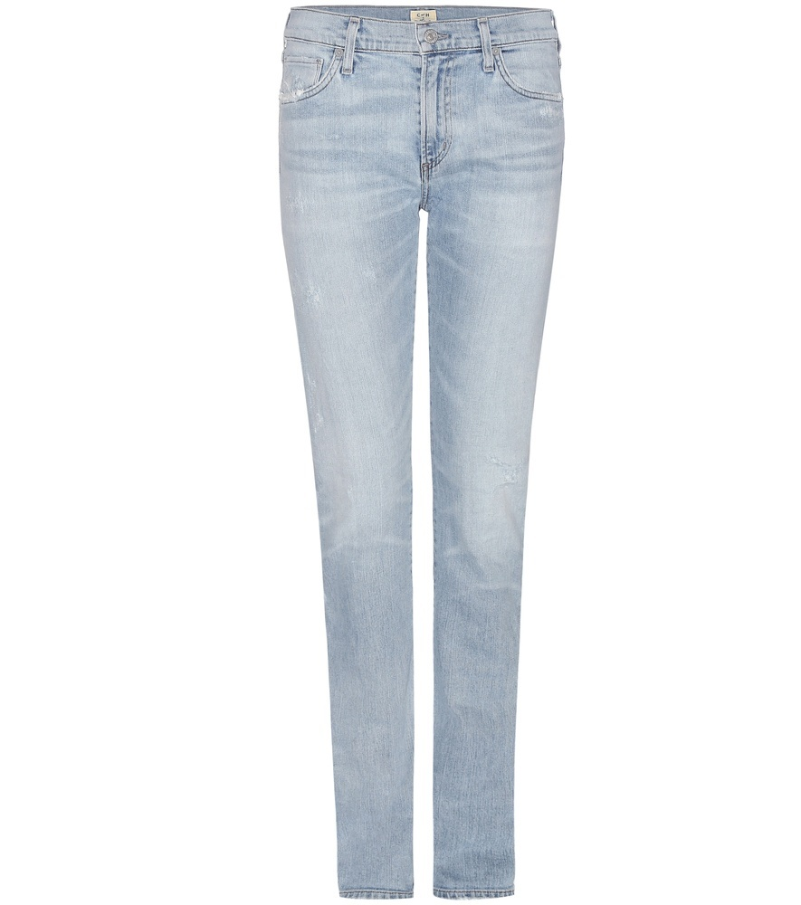 Exclusive To Mytheresa.Com Agnes Mid Rise Slim Straight Jeans - style: skinny leg; length: standard; pattern: plain; pocket detail: traditional 5 pocket; waist: mid/regular rise; predominant colour: pale blue; occasions: casual; fibres: cotton - stretch; jeans detail: shading down centre of thigh, washed/faded; texture group: denim; pattern type: fabric; season: s/s 2016; wardrobe: basic