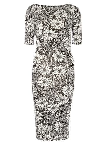 Womens **Tall Floral Slash Bodycon Dress White - style: shift; length: below the knee; neckline: slash/boat neckline; fit: tailored/fitted; secondary colour: ivory/cream; predominant colour: black; occasions: evening; fibres: viscose/rayon - stretch; sleeve length: half sleeve; sleeve style: standard; texture group: jersey - clingy; pattern type: fabric; pattern: patterned/print; season: s/s 2016; wardrobe: event