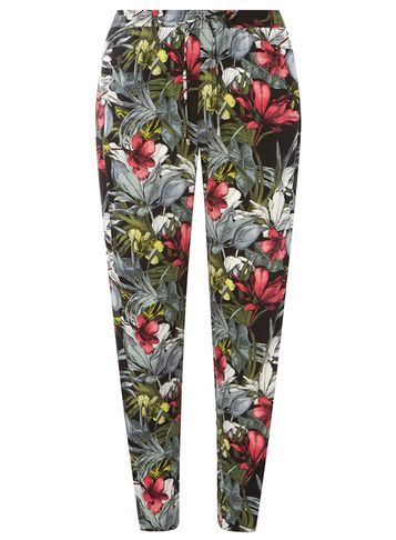 Womens Pink And Green Floral Joggers Pink - length: standard; style: tracksuit pants; waist detail: belted waist/tie at waist/drawstring; waist: mid/regular rise; secondary colour: dark green; predominant colour: mid grey; occasions: casual, activity; fibres: viscose/rayon - 100%; fit: tapered; pattern type: fabric; pattern: florals; texture group: jersey - stretchy/drapey; pattern size: big & busy (bottom); multicoloured: multicoloured; season: s/s 2016