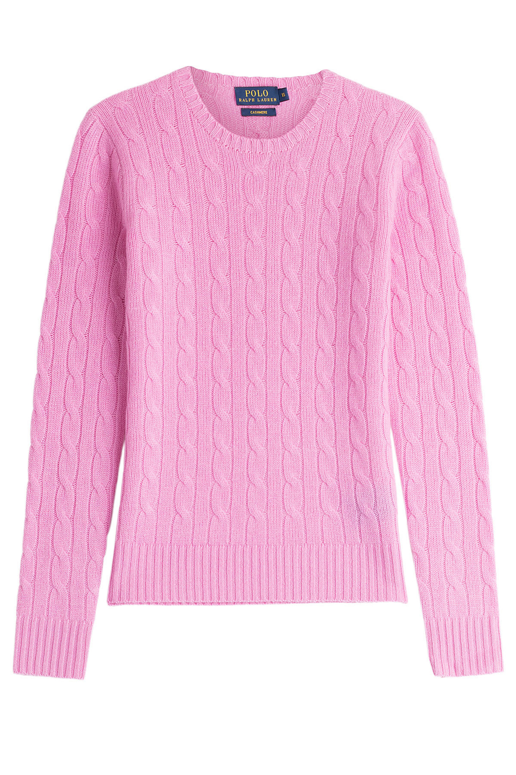 Cashmere Cable Knit Pullover - style: standard; pattern: cable knit; predominant colour: pink; occasions: casual; length: standard; fit: standard fit; neckline: crew; fibres: cashmere - 100%; sleeve length: long sleeve; sleeve style: standard; texture group: knits/crochet; pattern type: knitted - fine stitch; season: s/s 2016; wardrobe: highlight