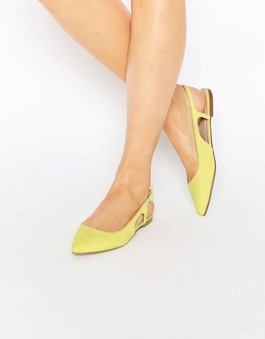 Last Laugh Pointed Sling Back Ballet Flats Chartreuse - predominant colour: yellow; occasions: casual, creative work; material: faux leather; heel height: flat; toe: pointed toe; style: ballerinas / pumps; finish: plain; pattern: plain; season: s/s 2016; wardrobe: highlight