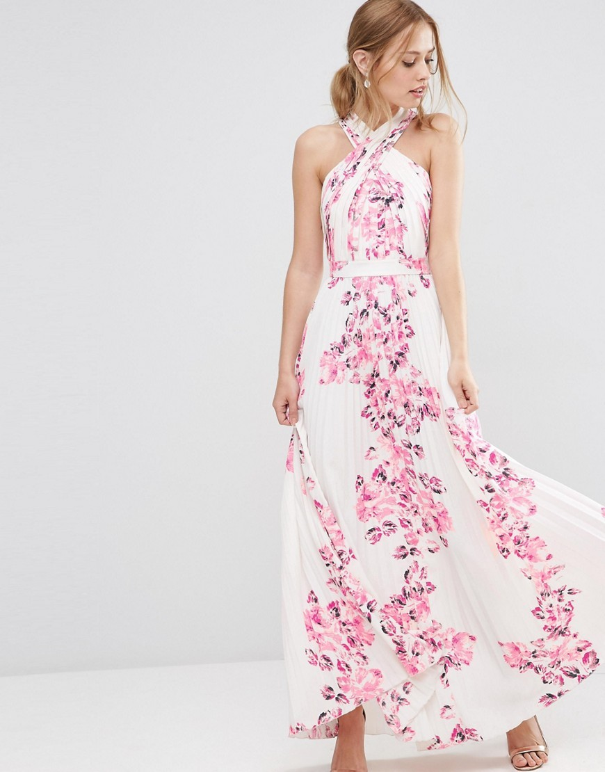 Cross Over Floral Pleated Maxi Dress Multi - neckline: v-neck; sleeve style: sleeveless; style: maxi dress; length: ankle length; predominant colour: white; secondary colour: pink; fit: soft a-line; fibres: polyester/polyamide - 100%; occasions: occasion; sleeve length: sleeveless; pattern type: fabric; pattern size: standard; pattern: florals; texture group: other - light to midweight; season: s/s 2016; wardrobe: event