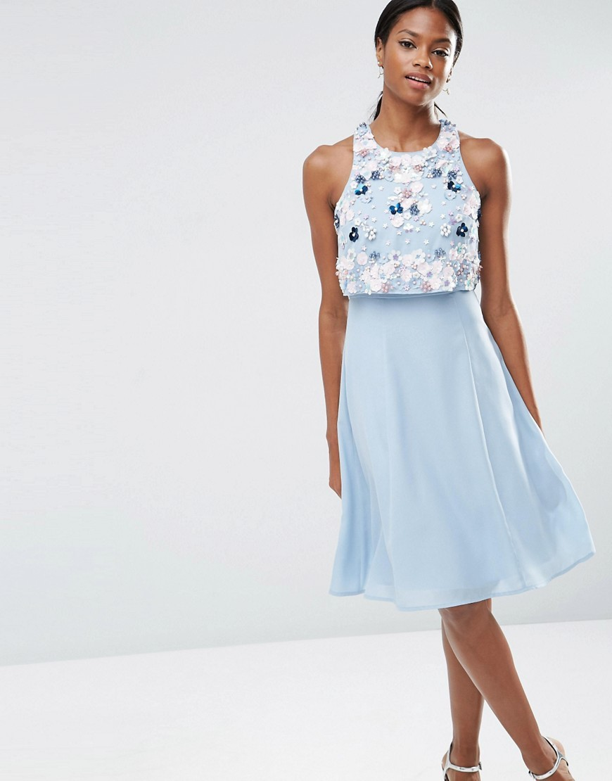 Multi Cluster 3 D Floral Crop Top Midi Dress Ice Blue - style: shift; pattern: plain; sleeve style: sleeveless; predominant colour: pale blue; length: on the knee; fit: soft a-line; fibres: polyester/polyamide - 100%; occasions: occasion; neckline: crew; sleeve length: sleeveless; pattern type: fabric; pattern size: standard; texture group: other - light to midweight; embellishment: beading; season: s/s 2016; wardrobe: event