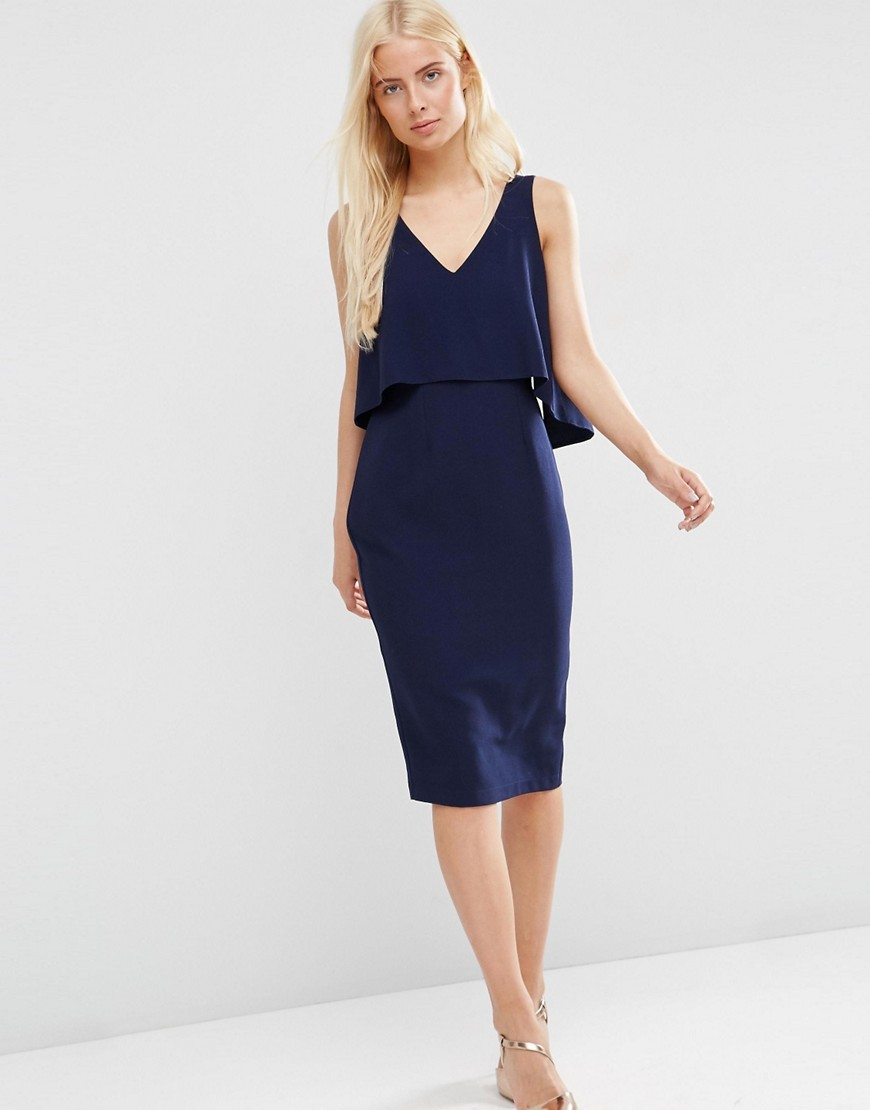 Double Layer Pencil Dress Navy - style: shift; neckline: low v-neck; pattern: plain; sleeve style: sleeveless; predominant colour: navy; length: on the knee; fit: body skimming; fibres: polyester/polyamide - stretch; occasions: occasion; sleeve length: sleeveless; texture group: crepes; pattern type: fabric; season: s/s 2016; wardrobe: event