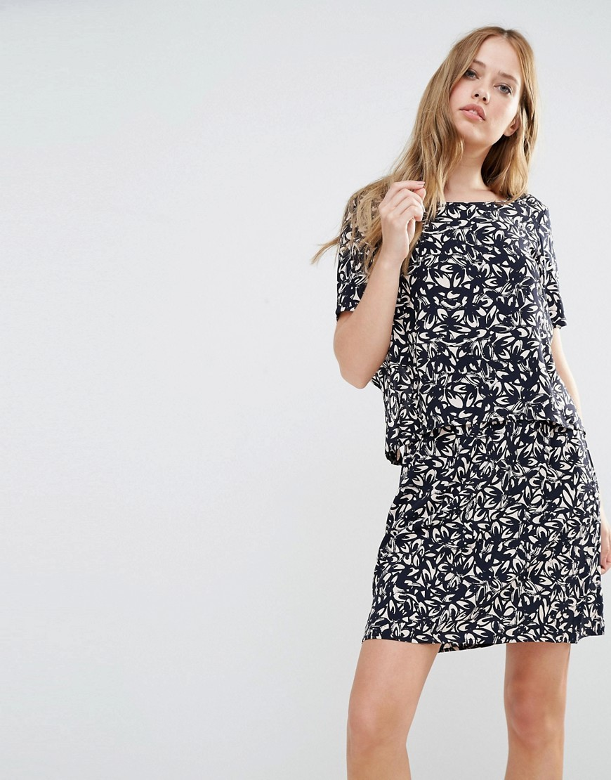 Petunia Double Layer Dress All Over Print - style: shift; length: mid thigh; secondary colour: white; predominant colour: navy; occasions: evening; fit: body skimming; fibres: viscose/rayon - 100%; neckline: crew; sleeve length: short sleeve; sleeve style: standard; pattern type: fabric; pattern size: standard; pattern: patterned/print; texture group: other - light to midweight; multicoloured: multicoloured; season: s/s 2016; wardrobe: event