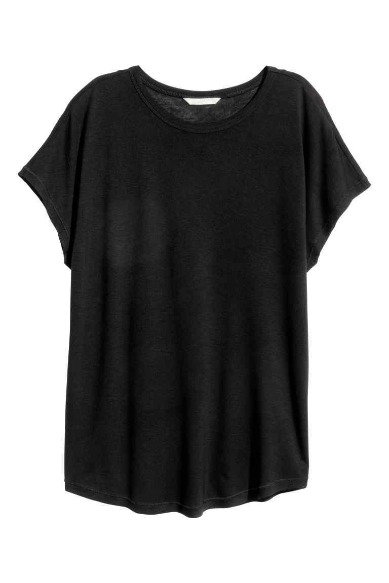Top With Cap Sleeves - neckline: round neck; sleeve style: capped; pattern: plain; length: below the bottom; style: t-shirt; predominant colour: black; occasions: casual, creative work; fibres: viscose/rayon - 100%; fit: loose; sleeve length: short sleeve; pattern type: fabric; texture group: jersey - stretchy/drapey; season: s/s 2016; wardrobe: basic