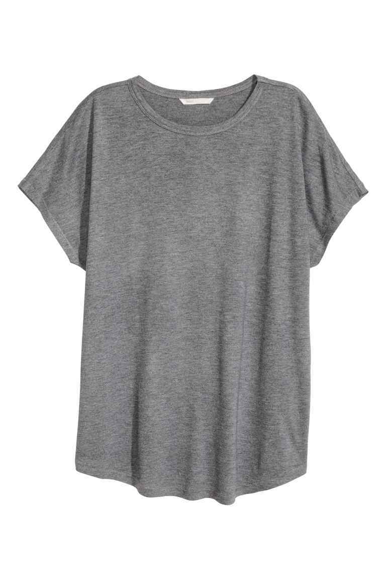 Top With Cap Sleeves - neckline: round neck; pattern: plain; length: below the bottom; style: t-shirt; predominant colour: mid grey; occasions: casual, creative work; fibres: viscose/rayon - 100%; fit: loose; sleeve length: short sleeve; sleeve style: standard; pattern type: fabric; texture group: jersey - stretchy/drapey; season: s/s 2016; wardrobe: basic