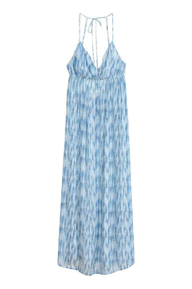 Maxi Dress - neckline: low v-neck; sleeve style: spaghetti straps; fit: empire; style: maxi dress; length: ankle length; predominant colour: pale blue; fibres: polyester/polyamide - 100%; hip detail: soft pleats at hip/draping at hip/flared at hip; sleeve length: sleeveless; texture group: sheer fabrics/chiffon/organza etc.; occasions: holiday; pattern type: fabric; pattern size: big & busy; pattern: patterned/print; season: s/s 2016