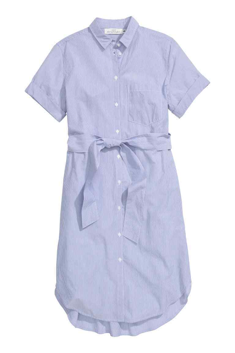 Shirt Dress - style: shirt; length: mid thigh; neckline: shirt collar/peter pan/zip with opening; pattern: plain; waist detail: belted waist/tie at waist/drawstring; predominant colour: pale blue; occasions: casual, creative work; fit: straight cut; fibres: cotton - 100%; sleeve length: sleeveless; sleeve style: standard; texture group: cotton feel fabrics; pattern type: fabric; season: s/s 2016; wardrobe: highlight