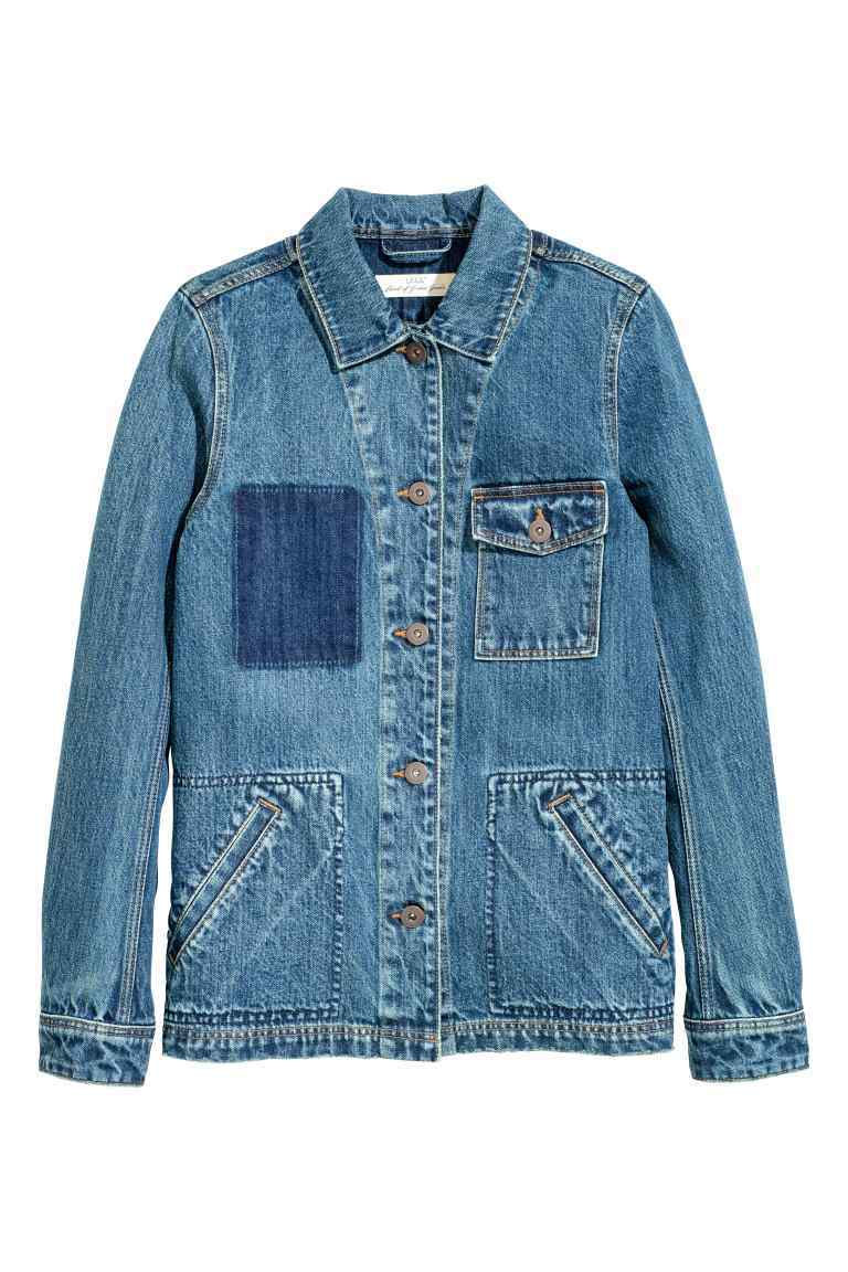 Denim Jacket - pattern: plain; style: denim; fit: slim fit; predominant colour: denim; occasions: casual, creative work; length: standard; fibres: cotton - 100%; collar: shirt collar/peter pan/zip with opening; sleeve length: long sleeve; sleeve style: standard; texture group: denim; collar break: high/illusion of break when open; pattern type: fabric; season: s/s 2016; wardrobe: basic