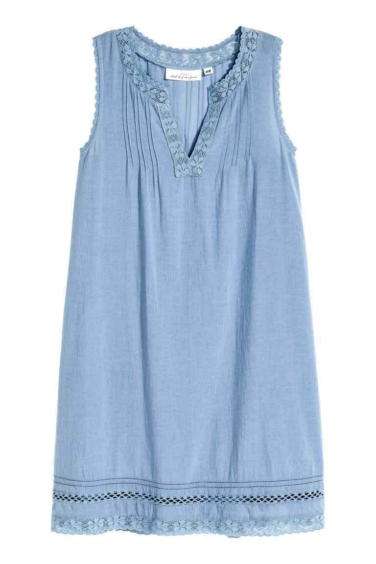 Cotton Dress With Lace - style: shift; length: mid thigh; neckline: v-neck; pattern: plain; sleeve style: sleeveless; predominant colour: pale blue; occasions: casual; fit: soft a-line; fibres: cotton - 100%; sleeve length: sleeveless; texture group: cotton feel fabrics; pattern type: fabric; season: s/s 2016; wardrobe: highlight