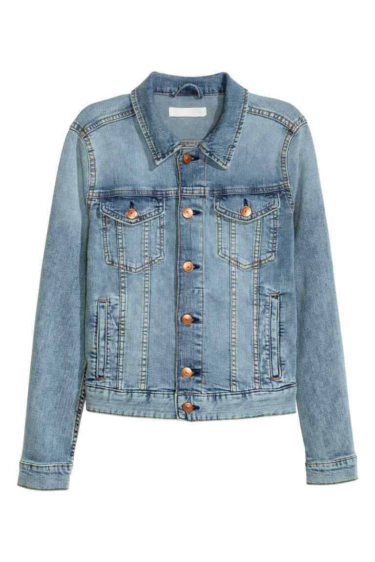 Denim Jacket - style: denim; pattern: argyll; predominant colour: denim; occasions: casual, creative work; length: standard; fit: straight cut (boxy); fibres: cotton - stretch; collar: shirt collar/peter pan/zip with opening; sleeve length: long sleeve; sleeve style: standard; texture group: denim; collar break: high/illusion of break when open; pattern type: fabric; season: s/s 2016