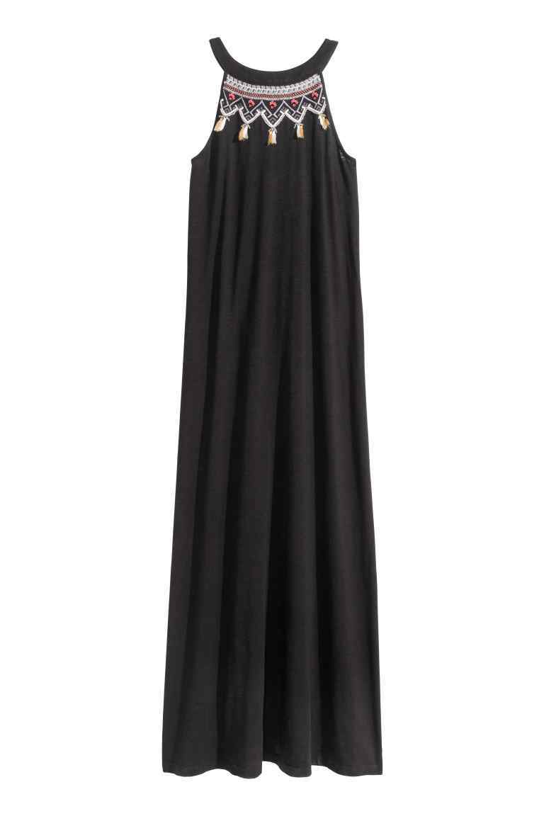 Embroidered Maxi Dress - neckline: v-neck; sleeve style: spaghetti straps; fit: loose; style: maxi dress; secondary colour: white; predominant colour: black; occasions: casual, holiday; length: floor length; fibres: cotton - mix; sleeve length: sleeveless; pattern type: fabric; pattern size: light/subtle; pattern: patterned/print; texture group: jersey - stretchy/drapey; season: s/s 2016; wardrobe: highlight