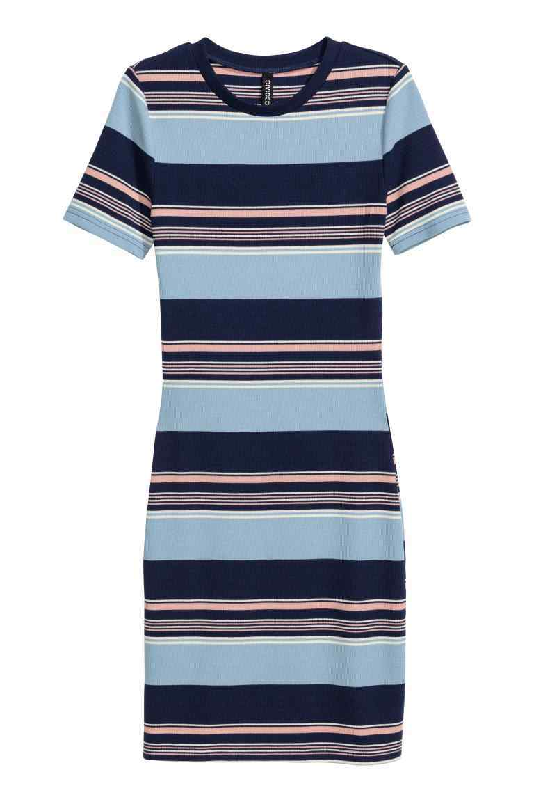 Ribbed Jersey Dress - style: shift; length: mid thigh; neckline: round neck; pattern: horizontal stripes; predominant colour: pale blue; secondary colour: navy; occasions: casual; fit: body skimming; fibres: polyester/polyamide - stretch; sleeve length: short sleeve; sleeve style: standard; pattern type: fabric; pattern size: light/subtle; texture group: jersey - stretchy/drapey; season: s/s 2016; wardrobe: highlight