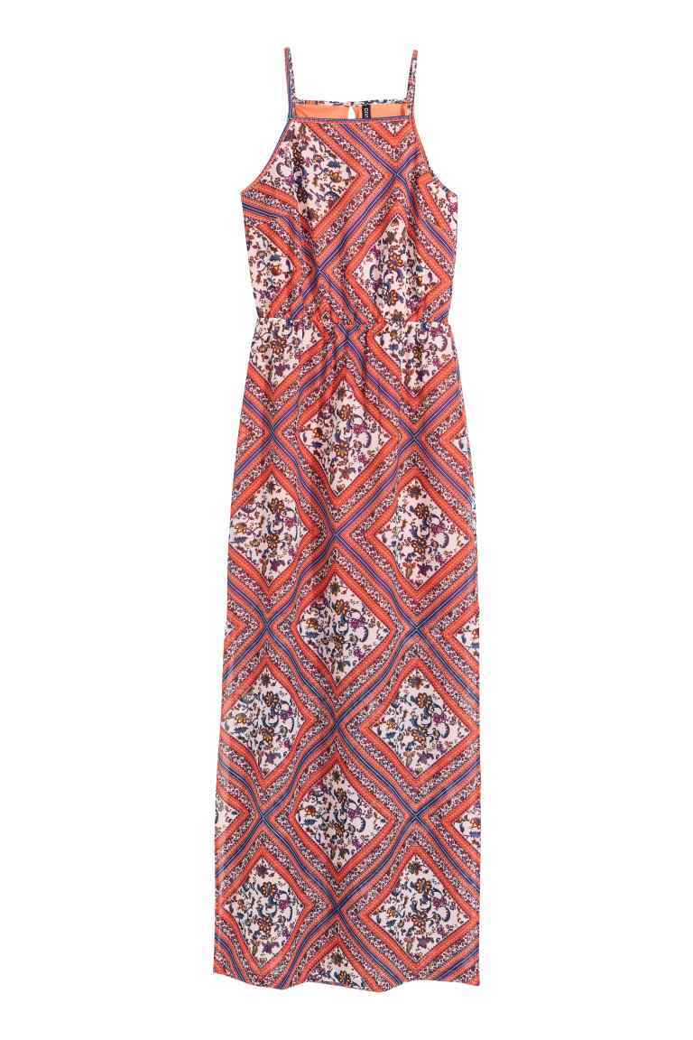 Patterned Chiffon Maxi Dress - sleeve style: spaghetti straps; fit: fitted at waist; style: maxi dress; length: ankle length; secondary colour: white; occasions: casual, holiday; fibres: polyester/polyamide - 100%; sleeve length: sleeveless; neckline: medium square neck; pattern type: fabric; pattern size: big & busy; pattern: patterned/print; texture group: jersey - stretchy/drapey; predominant colour: dusky pink; season: s/s 2016; wardrobe: highlight