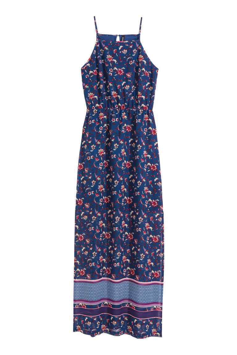 Patterned Chiffon Maxi Dress - sleeve style: spaghetti straps; fit: fitted at waist; style: maxi dress; length: ankle length; predominant colour: navy; secondary colour: denim; occasions: casual; fibres: polyester/polyamide - 100%; sleeve length: sleeveless; neckline: medium square neck; pattern type: fabric; pattern size: big & busy; pattern: patterned/print; texture group: jersey - stretchy/drapey; season: s/s 2016; wardrobe: highlight