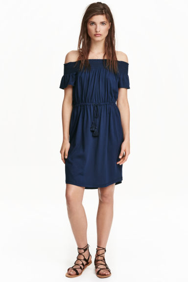 Off The Shoulder Dress - style: shift; neckline: off the shoulder; fit: fitted at waist; pattern: plain; predominant colour: navy; occasions: casual; length: on the knee; fibres: cotton - mix; sleeve length: short sleeve; sleeve style: standard; pattern type: fabric; texture group: woven light midweight; season: s/s 2016