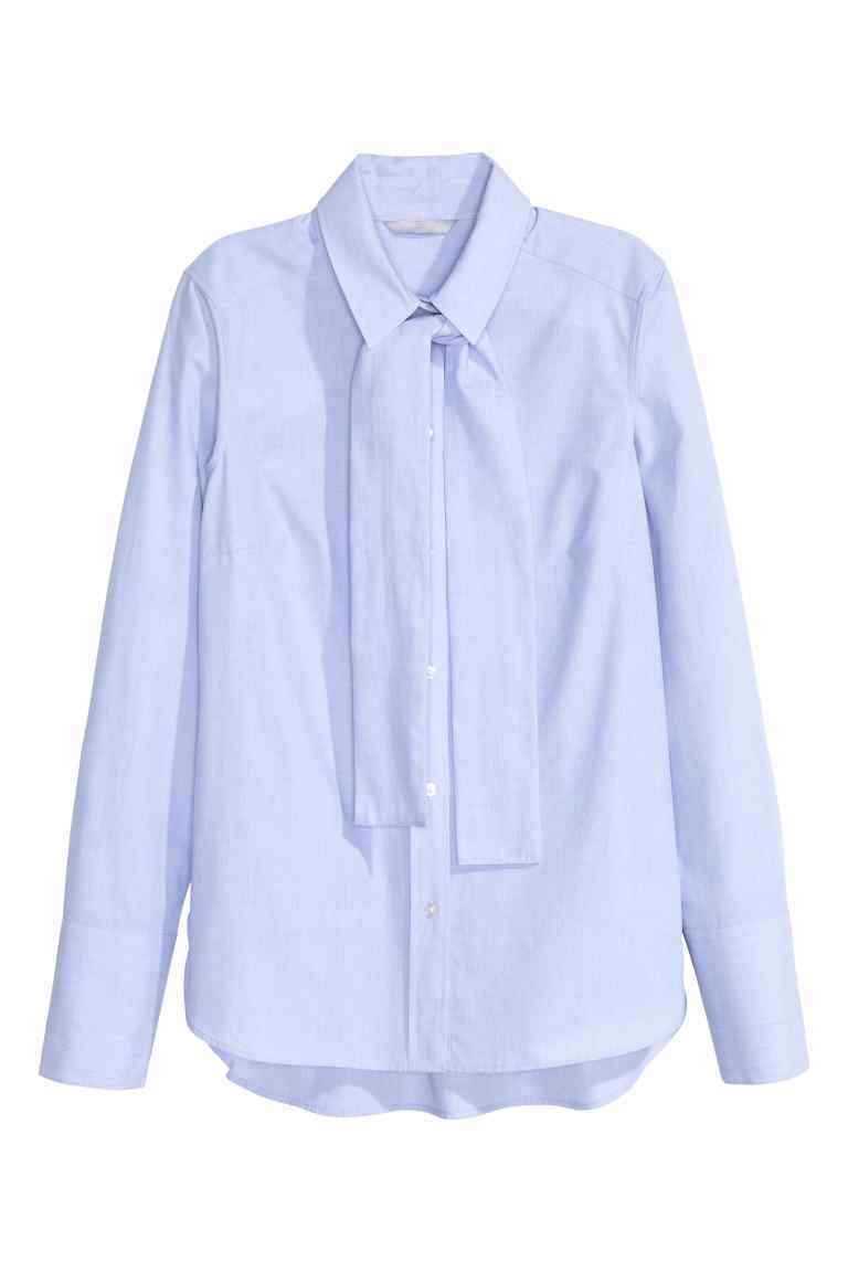 Cotton Shirt With A Tie - pattern: plain; style: shirt; neckline: pussy bow; predominant colour: pale blue; occasions: work, creative work; length: standard; fibres: cotton - 100%; fit: tailored/fitted; sleeve length: long sleeve; sleeve style: standard; texture group: cotton feel fabrics; pattern type: fabric; season: s/s 2016; wardrobe: highlight