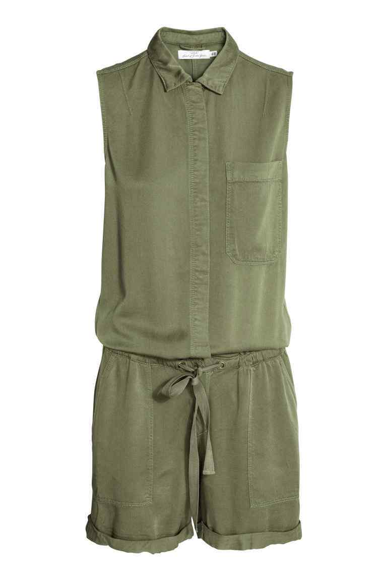 Sleeveless Playsuit - neckline: shirt collar/peter pan/zip with opening; fit: loose; pattern: plain; sleeve style: sleeveless; waist detail: belted waist/tie at waist/drawstring; length: short shorts; predominant colour: khaki; occasions: casual; fibres: viscose/rayon - 100%; sleeve length: sleeveless; texture group: crepes; style: playsuit; pattern type: fabric; season: s/s 2016; wardrobe: highlight