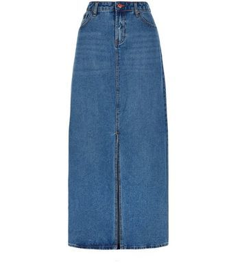 Blue Split Front Maxi Denim Skirt - pattern: plain; length: ankle length; fit: body skimming; waist: high rise; predominant colour: denim; occasions: casual; style: maxi skirt; fibres: cotton - 100%; texture group: denim; pattern type: fabric; season: s/s 2016; wardrobe: basic