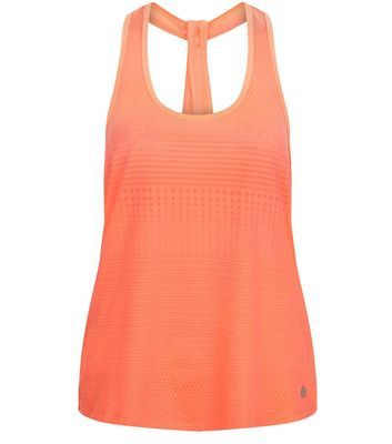 Coral Jacquard Stripe Sports Vest - neckline: round neck; pattern: plain; sleeve style: sleeveless; style: vest top; predominant colour: coral; occasions: casual; length: standard; fibres: polyester/polyamide - stretch; fit: body skimming; sleeve length: sleeveless; pattern type: fabric; texture group: brocade/jacquard; season: s/s 2016
