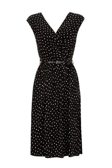 Black Polkadot Pleated Wrap Dress - style: shift; neckline: v-neck; fit: fitted at waist; sleeve style: sleeveless; pattern: polka dot; waist detail: belted waist/tie at waist/drawstring; secondary colour: white; predominant colour: black; occasions: work, creative work; length: just above the knee; fibres: polyester/polyamide - 100%; sleeve length: sleeveless; pattern type: fabric; pattern size: standard; texture group: jersey - stretchy/drapey; season: s/s 2016; wardrobe: highlight