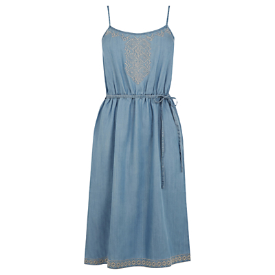 Embroidered Cami Dress, Light Wash - sleeve style: spaghetti straps; style: sundress; waist detail: belted waist/tie at waist/drawstring; predominant colour: denim; secondary colour: stone; occasions: casual, holiday; length: on the knee; fit: body skimming; neckline: scoop; fibres: viscose/rayon - 100%; sleeve length: sleeveless; pattern type: fabric; pattern size: light/subtle; pattern: patterned/print; texture group: other - light to midweight; embellishment: embroidered; season: s/s 2016; wardrobe: highlight