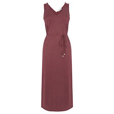 Lattice Textured Dress, Burgundy - length: calf length; neckline: v-neck; fit: empire; pattern: plain; sleeve style: sleeveless; style: sundress; waist detail: belted waist/tie at waist/drawstring; predominant colour: burgundy; occasions: casual, holiday; fibres: polyester/polyamide - mix; sleeve length: sleeveless; pattern type: fabric; texture group: jersey - stretchy/drapey; season: s/s 2016; wardrobe: highlight