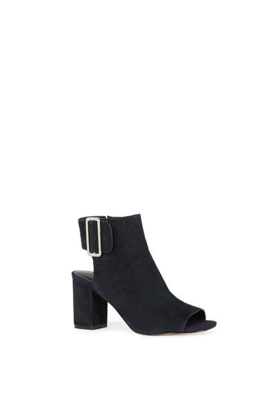 Cut Out Ankle Boot - predominant colour: black; occasions: casual; material: suede; heel height: high; heel: block; toe: open toe/peeptoe; boot length: ankle boot; style: standard; finish: plain; pattern: plain; season: s/s 2016; wardrobe: highlight