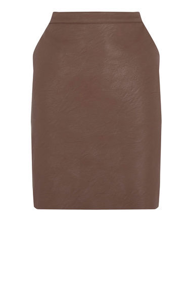 Faux Leather Clean Skirt - pattern: plain; style: pencil; fit: tailored/fitted; waist: high rise; predominant colour: chocolate brown; length: just above the knee; texture group: leather; pattern type: fabric; fibres: pvc/polyurethene - mix; occasions: creative work; season: s/s 2016