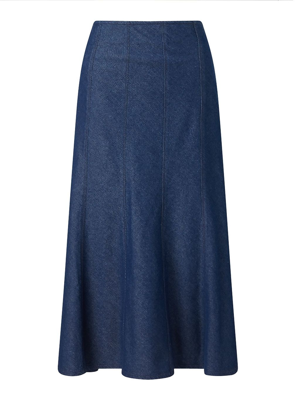 Denim Panel Skirt, Blue - length: calf length; pattern: plain; style: full/prom skirt; fit: loose/voluminous; waist: high rise; predominant colour: navy; occasions: casual, creative work; fibres: cotton - 100%; hip detail: soft pleats at hip/draping at hip/flared at hip; texture group: denim; pattern type: fabric; season: s/s 2016; wardrobe: basic