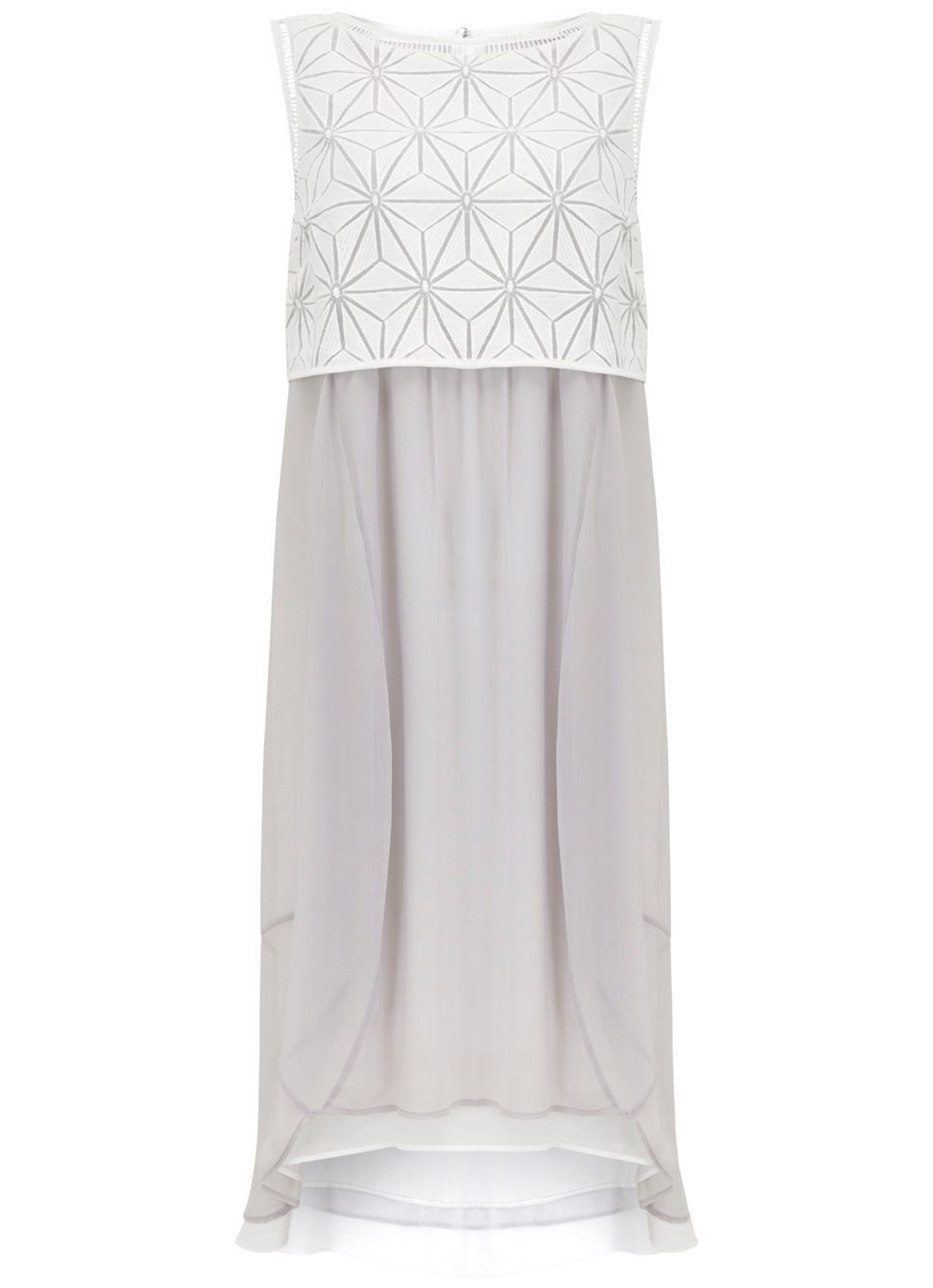 Ivory & Dove Geo Embroidered Cocoon Dress, Multi Coloured - style: shift; sleeve style: sleeveless; secondary colour: white; predominant colour: mid grey; length: on the knee; fit: soft a-line; fibres: polyester/polyamide - 100%; occasions: occasion; neckline: crew; sleeve length: sleeveless; texture group: sheer fabrics/chiffon/organza etc.; pattern type: fabric; pattern size: standard; pattern: patterned/print; embellishment: lace; season: s/s 2016; wardrobe: event; embellishment location: bust