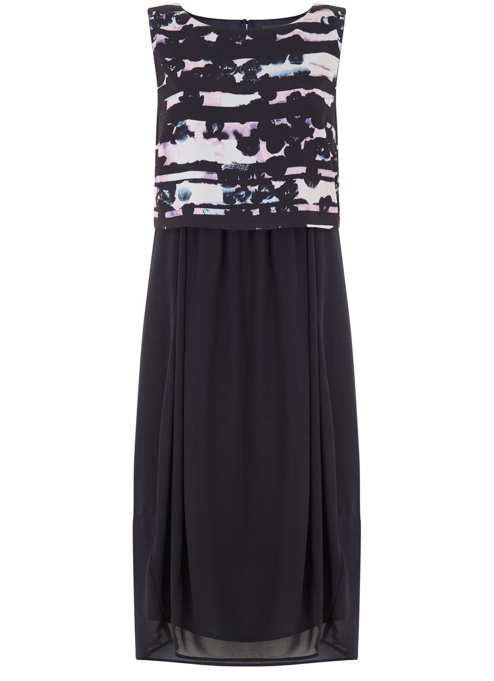 Amelia Print Dress, Multi Coloured - sleeve style: sleeveless; secondary colour: white; predominant colour: navy; occasions: evening; length: on the knee; fit: fitted at waist & bust; style: fit & flare; fibres: polyester/polyamide - 100%; neckline: crew; sleeve length: sleeveless; pattern type: fabric; pattern: patterned/print; texture group: other - light to midweight; multicoloured: multicoloured; season: s/s 2016; wardrobe: event