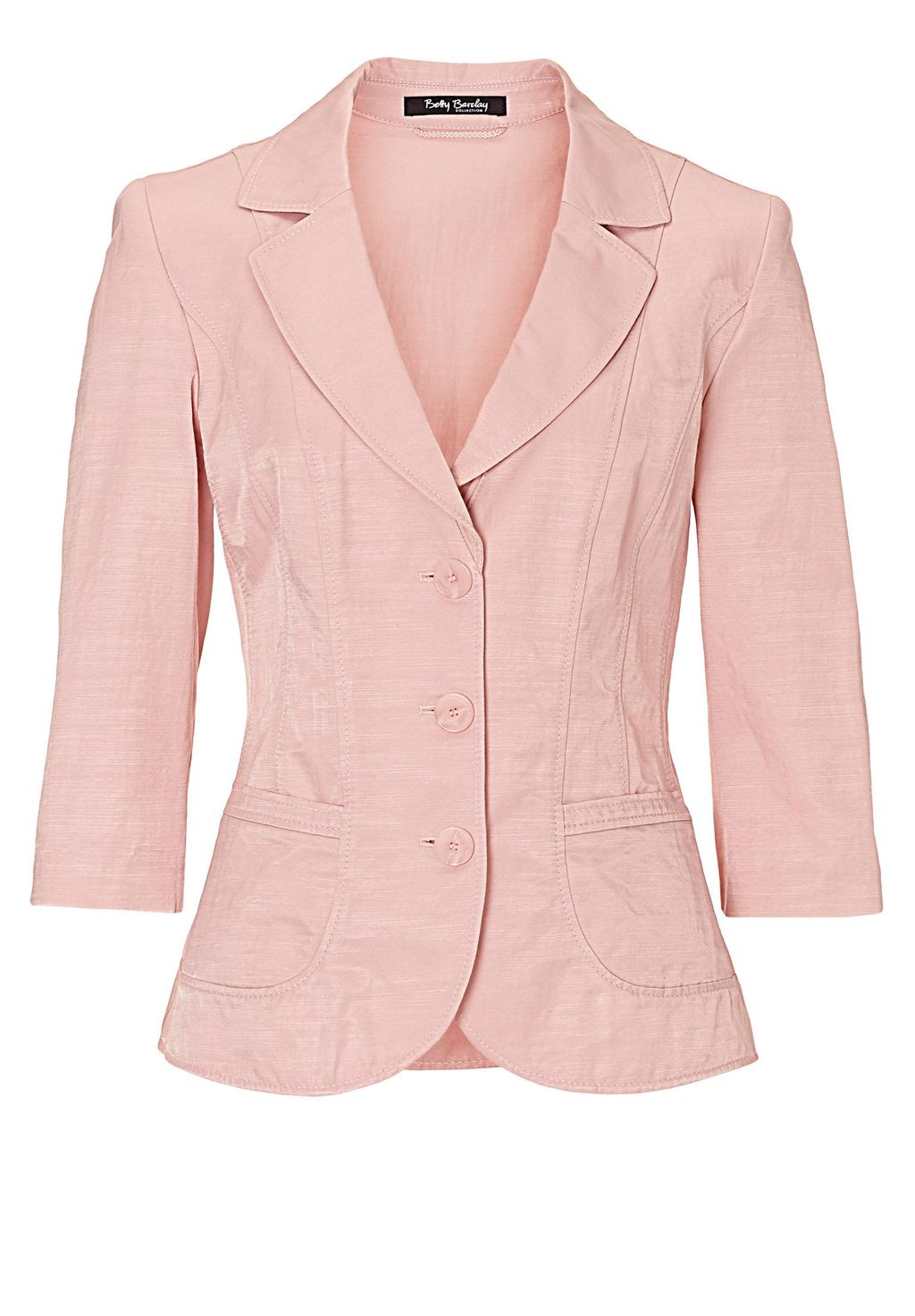 Three Button Blazer, Fuchsia - pattern: plain; style: single breasted blazer; collar: standard lapel/rever collar; predominant colour: blush; occasions: casual, creative work; length: standard; fit: tailored/fitted; fibres: linen - 100%; waist detail: fitted waist; sleeve length: 3/4 length; sleeve style: standard; texture group: linen; collar break: medium; pattern type: fabric; season: s/s 2016; wardrobe: basic