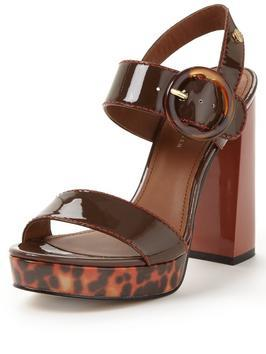Paris Leopard Heeled Sandal - predominant colour: chocolate brown; occasions: evening; material: leather; ankle detail: ankle strap; heel: block; toe: open toe/peeptoe; style: strappy; finish: plain; pattern: plain; heel height: very high; shoe detail: platform; season: s/s 2016; wardrobe: event
