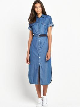 Takoma Midi Denim Dress - style: shirt; length: below the knee; neckline: shirt collar/peter pan/zip with opening; pattern: plain; waist detail: belted waist/tie at waist/drawstring; predominant colour: denim; occasions: casual, creative work; fit: body skimming; fibres: cotton - 100%; sleeve length: short sleeve; sleeve style: standard; texture group: denim; pattern type: fabric; season: s/s 2016; wardrobe: basic