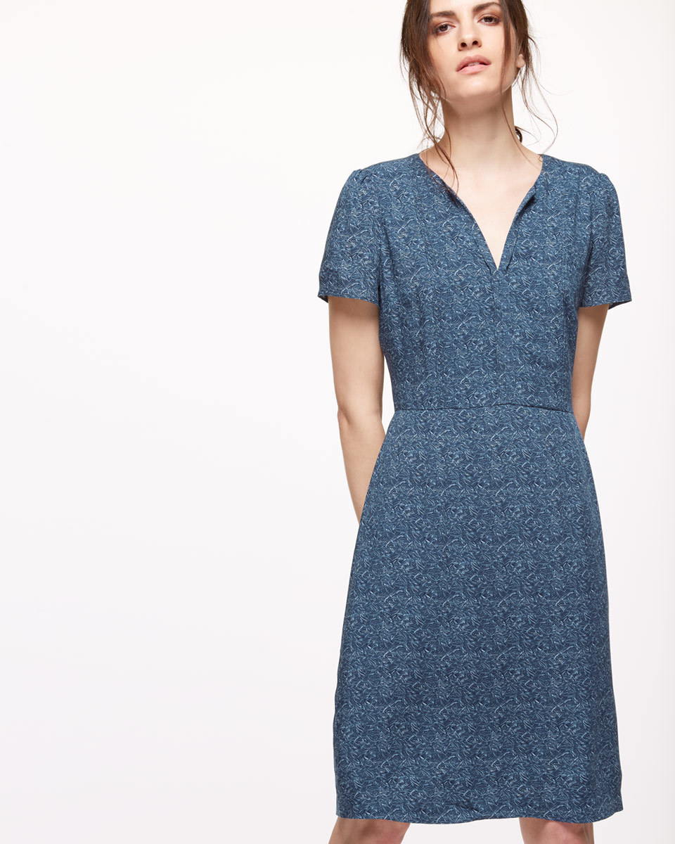 Linear Leaf Tea Dress - style: shift; neckline: v-neck; predominant colour: navy; occasions: casual; length: on the knee; fit: body skimming; fibres: viscose/rayon - 100%; sleeve length: short sleeve; sleeve style: standard; pattern type: fabric; pattern: patterned/print; texture group: other - light to midweight; season: s/s 2016; wardrobe: highlight