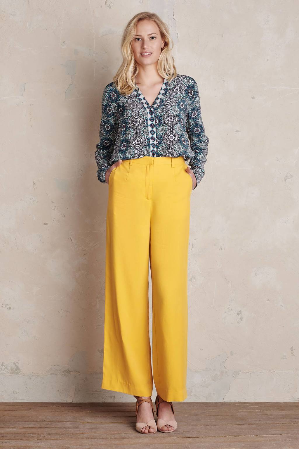 Clara Wide Leg Trousers, Yellow - length: standard; pattern: plain; waist: mid/regular rise; predominant colour: yellow; occasions: casual, creative work; fibres: viscose/rayon - 100%; texture group: crepes; fit: wide leg; pattern type: fabric; style: standard; season: s/s 2016; wardrobe: highlight