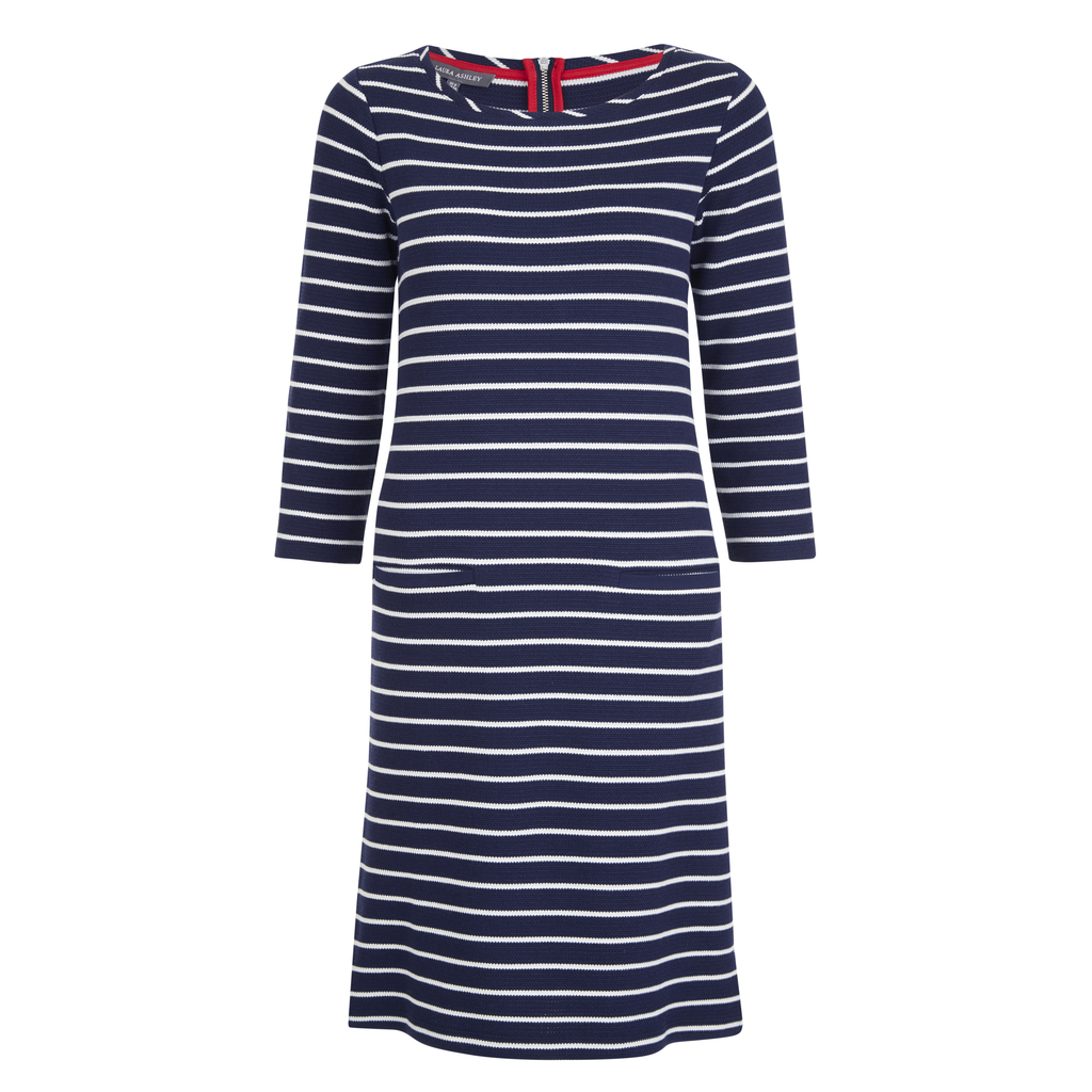 Midi Nautical Pique Dress - style: t-shirt; length: mid thigh; neckline: round neck; pattern: horizontal stripes; secondary colour: white; predominant colour: navy; occasions: casual, creative work; fit: body skimming; fibres: cotton - stretch; hip detail: subtle/flattering hip detail; sleeve length: 3/4 length; sleeve style: standard; texture group: jersey - clingy; pattern type: fabric; pattern size: standard; season: s/s 2016; wardrobe: basic