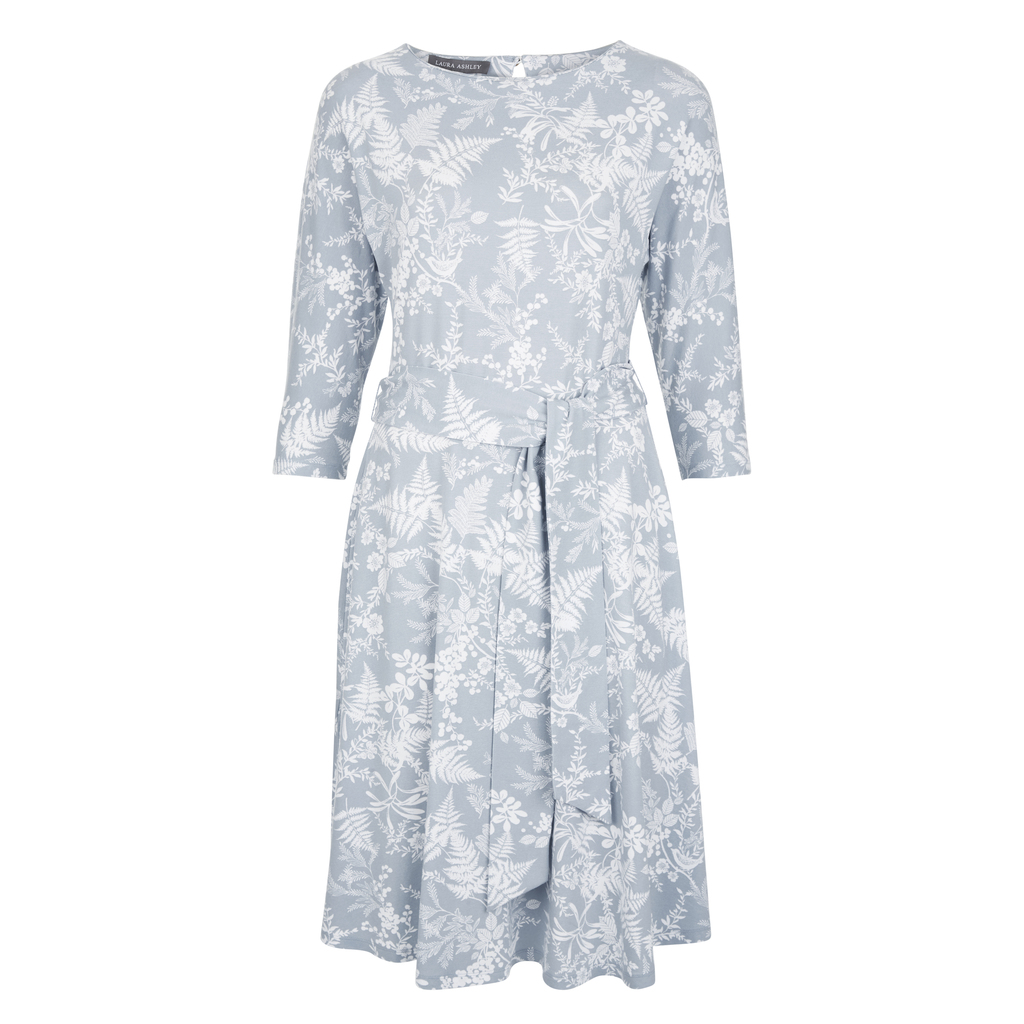 Floral Birdsong Fit And Flare Jersey Dress - secondary colour: white; predominant colour: pale blue; occasions: casual, creative work; length: just above the knee; fit: fitted at waist & bust; style: fit & flare; fibres: cotton - stretch; neckline: crew; hip detail: subtle/flattering hip detail; sleeve length: 3/4 length; sleeve style: standard; pattern type: fabric; pattern size: standard; pattern: florals; texture group: jersey - stretchy/drapey; season: s/s 2016; wardrobe: highlight