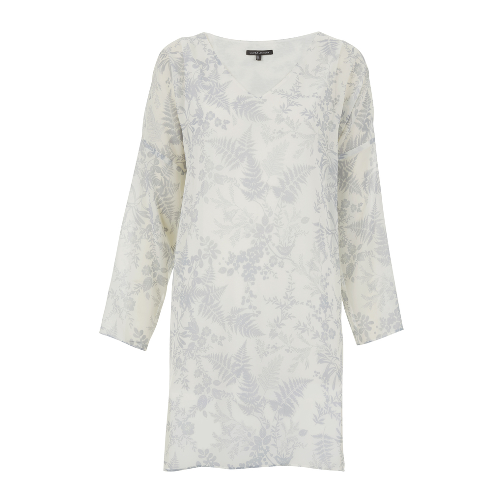 Floral Birdsong Print Floaty V Neck Tunic - style: tunic; length: mid thigh; neckline: v-neck; predominant colour: white; secondary colour: mid grey; occasions: casual; fit: straight cut; fibres: cotton - 100%; sleeve length: 3/4 length; sleeve style: standard; texture group: cotton feel fabrics; pattern type: fabric; pattern size: standard; pattern: florals; season: s/s 2016; wardrobe: highlight