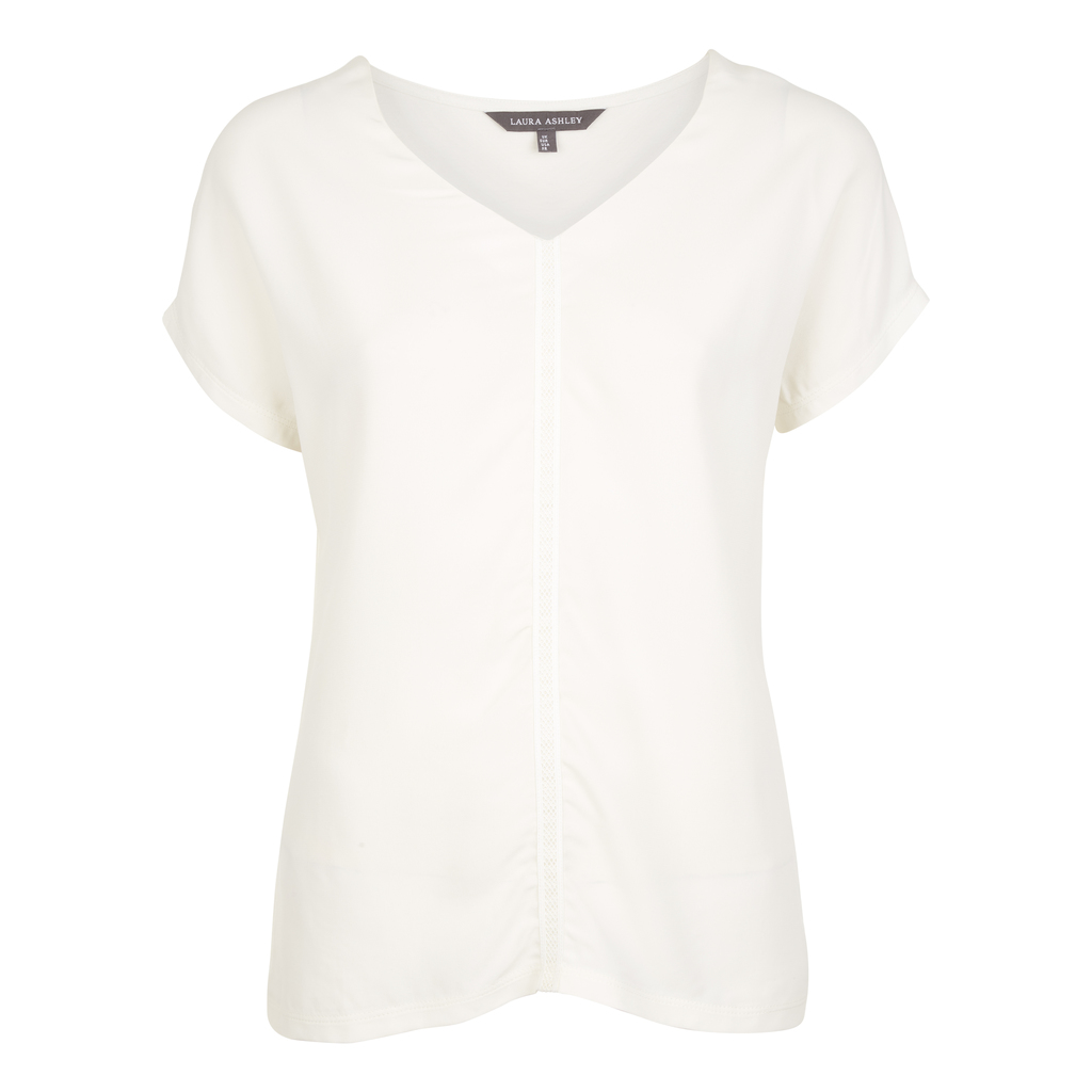 Woven Front V Neck Top - neckline: v-neck; pattern: plain; predominant colour: white; occasions: casual; length: standard; style: top; fibres: viscose/rayon - stretch; fit: body skimming; sleeve length: short sleeve; sleeve style: standard; pattern type: fabric; texture group: jersey - stretchy/drapey; season: s/s 2016; wardrobe: basic