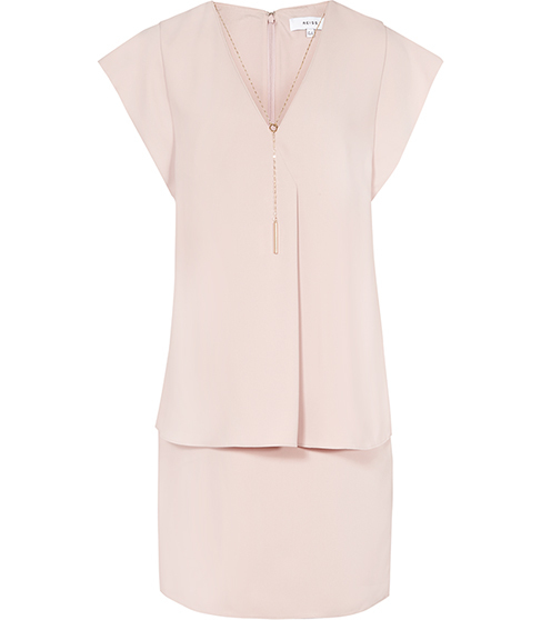 Tarquin Chain Detail Dress - style: shift; neckline: v-neck; fit: tailored/fitted; pattern: plain; predominant colour: blush; occasions: evening; length: just above the knee; fibres: polyester/polyamide - 100%; sleeve length: short sleeve; sleeve style: standard; pattern type: fabric; texture group: other - light to midweight; season: s/s 2016; wardrobe: event